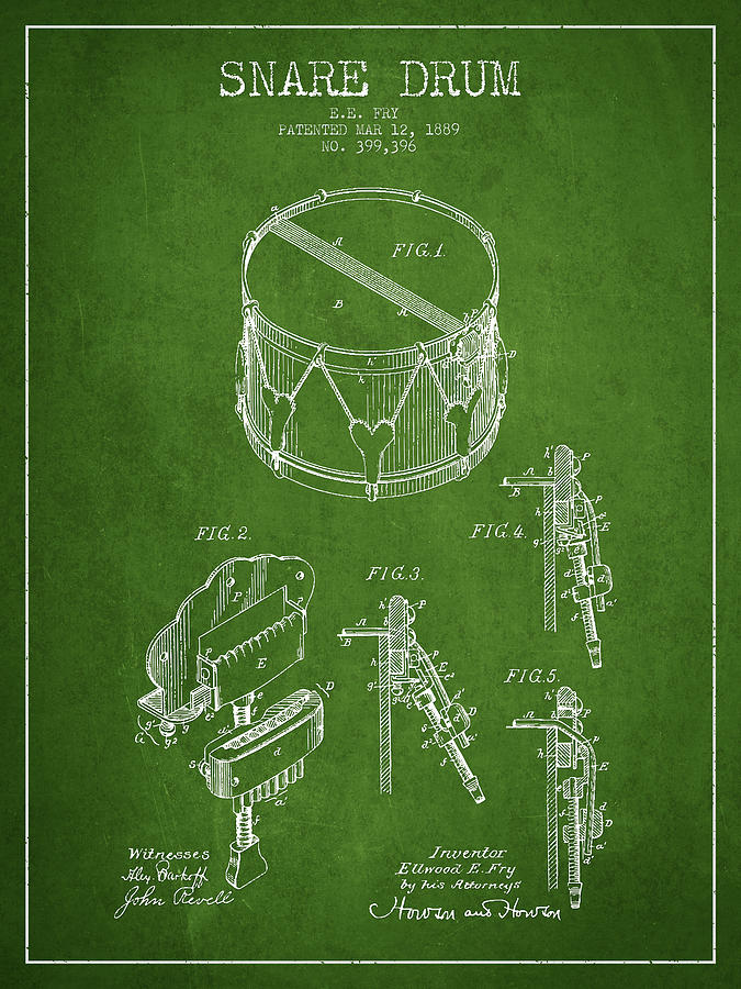 Snare Drum Digital Art - Vintage Snare Drum Patent Drawing From 1889 - Green by Aged Pixel
