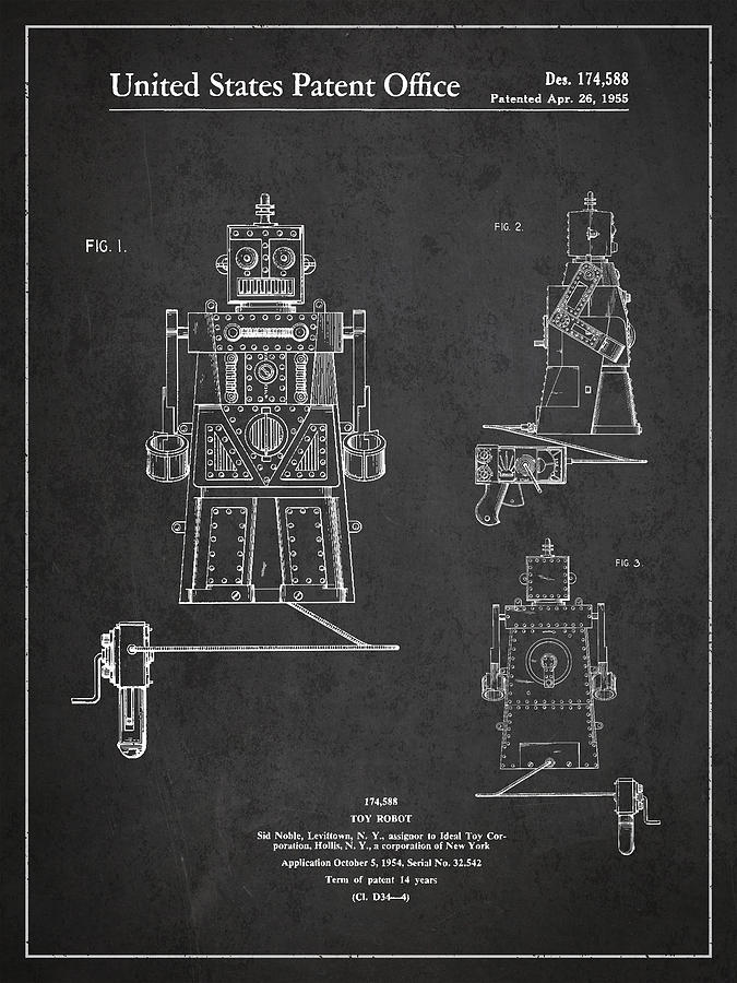 Starwars Digital Art - Vintage Toy Robot Patent Drawing From 1955 by Aged Pixel