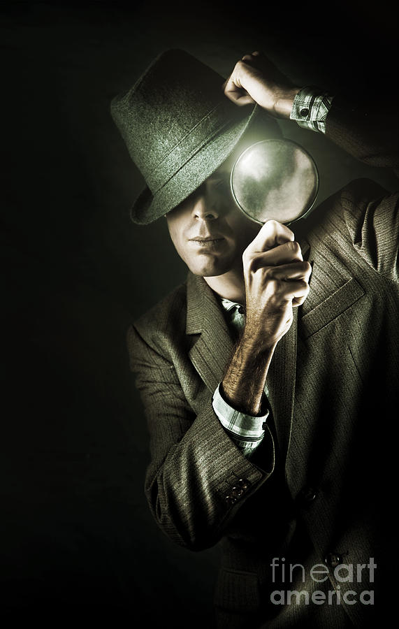 Background Photograph - Vintage Undercover Spy On Dark Background by Jorgo Photography - Wall Art Gallery