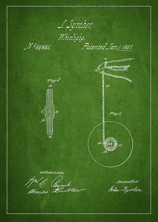 Yoyo Drawing - Vintage Yoyo Patent Drawing From 1867 by Aged Pixel