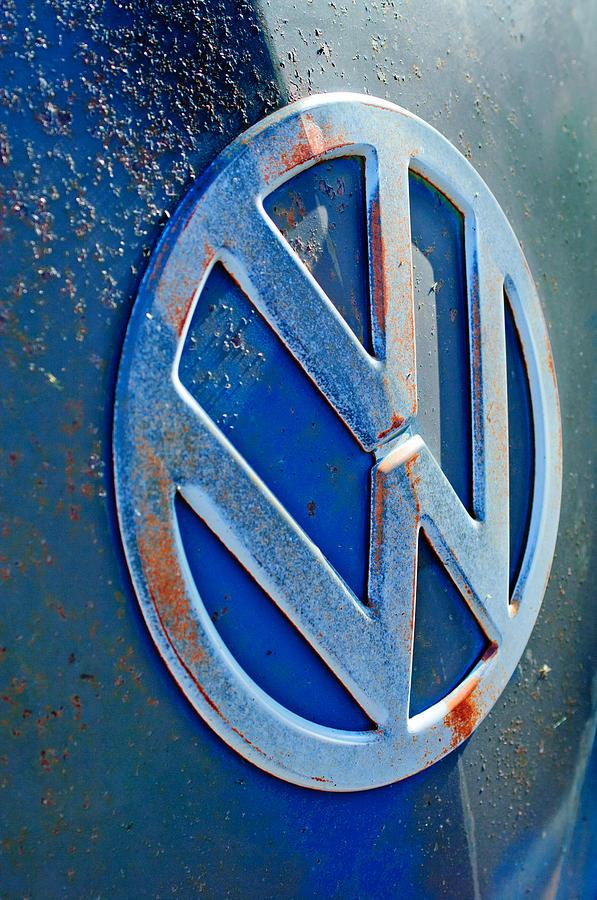 Classic Car Photograph - Volkswagen Vw Bus Front Emblem by Jill Reger