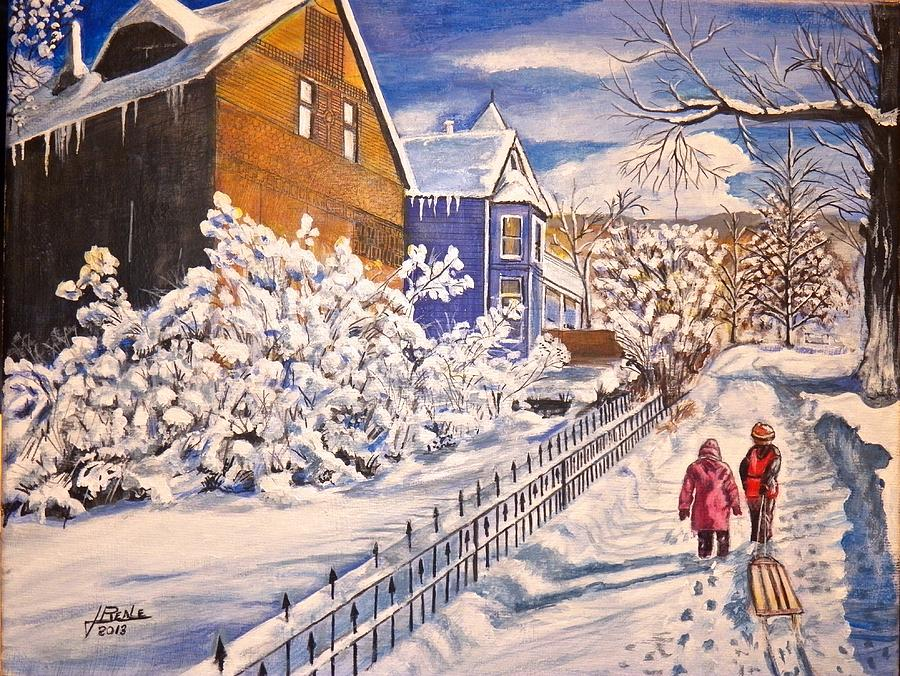 Old House Painting - Walking Home by Jim  Reale