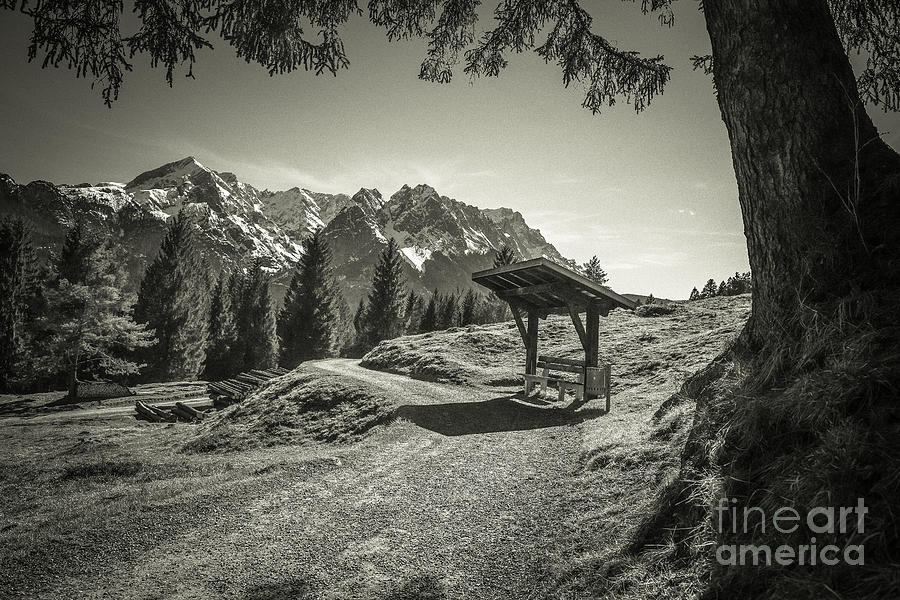 Alpspitze Photograph - walking in the Alps - bw by Hannes Cmarits