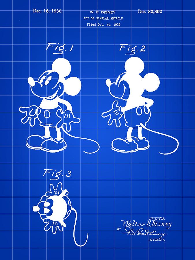 Mickey Mouse Digital Art - Walt Disney Mickey Mouse Patent 1929 - Blue by Stephen Younts