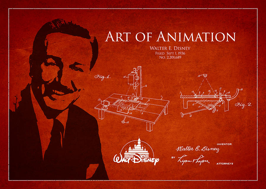 Walt Disney Digital Art - Walt Disney Patent From 1936 by Aged Pixel