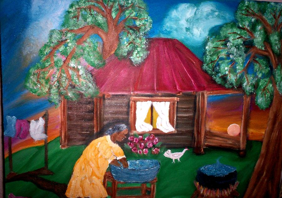 Cabin Painting - Wash Day At Aunties by Mildred Chatman