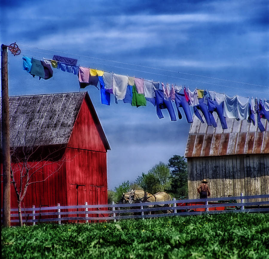 Amish Photograph - Wash Day by Mountain Dreams