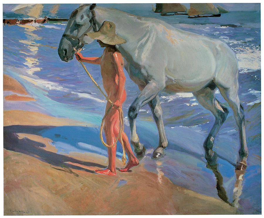 Horse In The Water Painting - Washing The Horse by Joaquin Sorolla Y Bastida