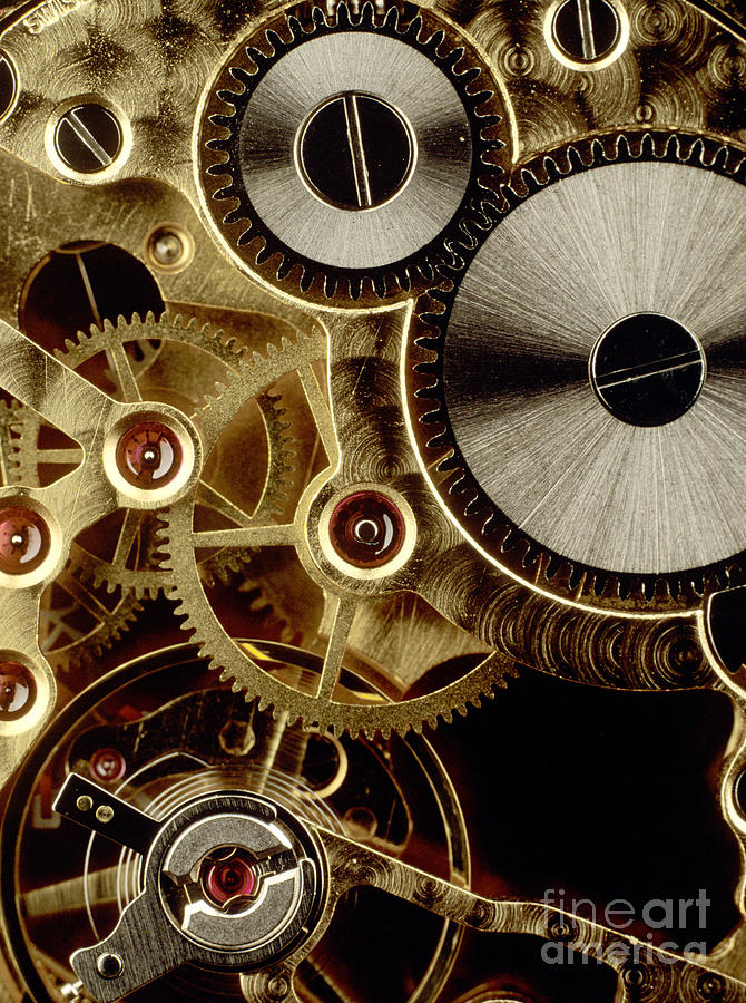 Watch Mechanism. Close-up Photograph by Bernard Jaubert