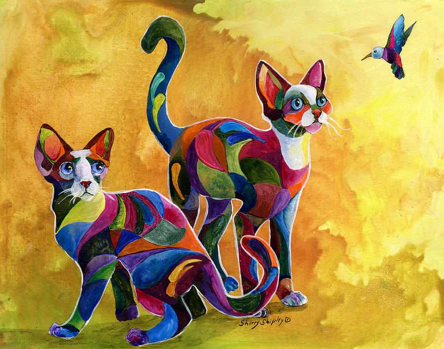 Cat Painting - Watch The Birdie by Sherry Shipley
