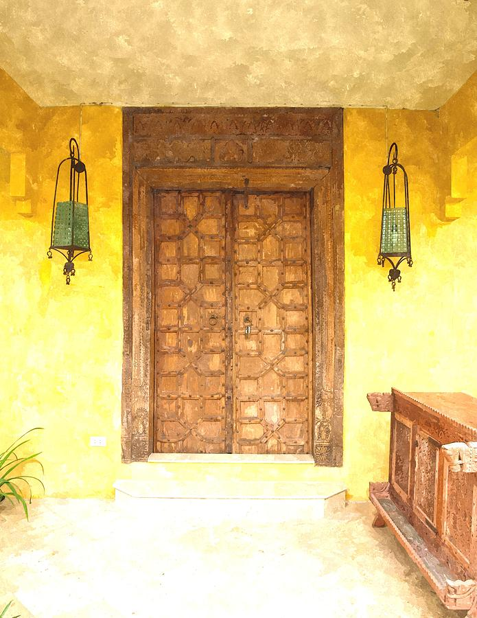 watercolor of antique Moroccan style wooden door on yellow wall ...