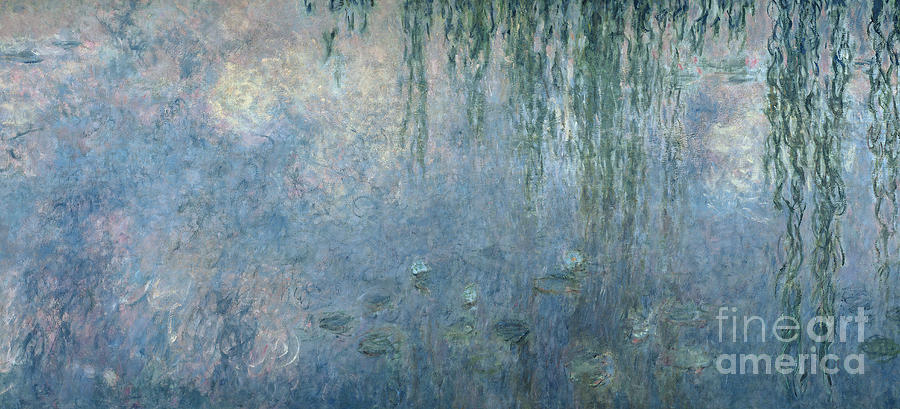 Blue Painting - Waterlilies Morning with Weeping Willows by Claude Monet