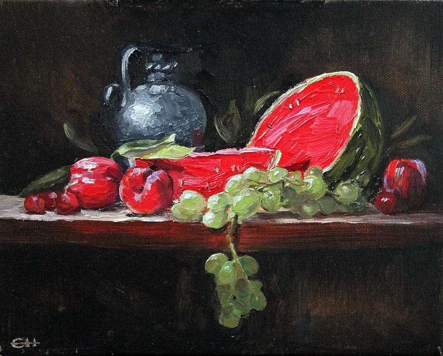 Watermelon Painting - Watermelon And Plums by Ellen Howell