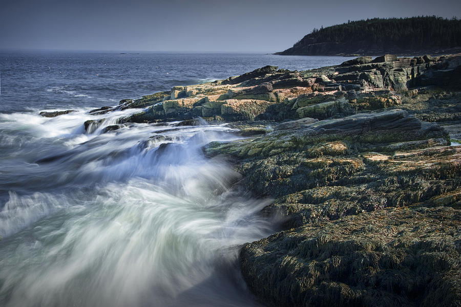 Landscape Photograph - Waves Crashing Against The Shore In Acadia National Park by Randall Nyhof