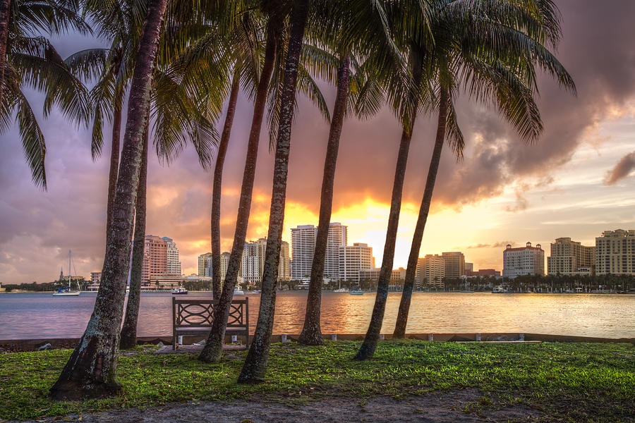 Boats Photograph - West Palm Beach Skyline by Debra and Dave Vanderlaan