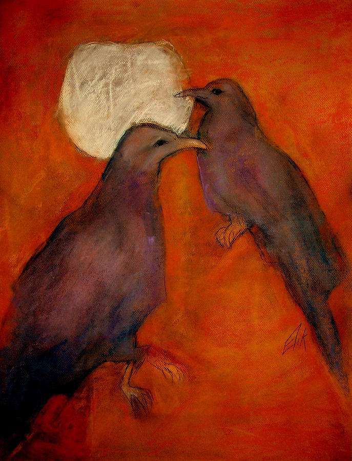 Crows And The Moon Pastel - When Crow Made The Moon by Johanna Elik