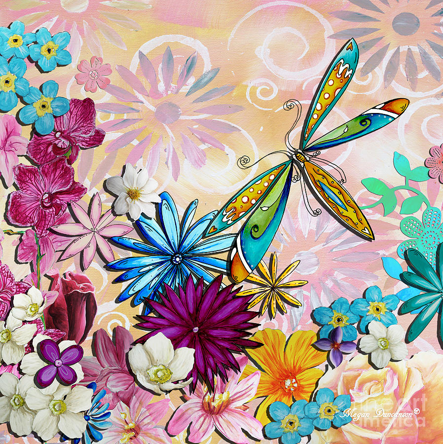 Whimsical floral flowers dragonfly art colorful uplifting for Imagenes de cuadros abstractos para imprimir