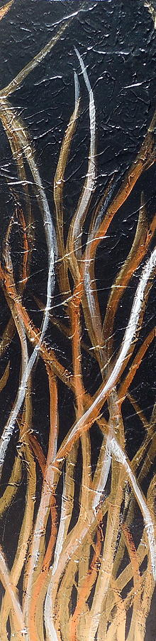 Zen Painting - Whispering Reeds Abstract Triptych Paintings by Holly Anderson