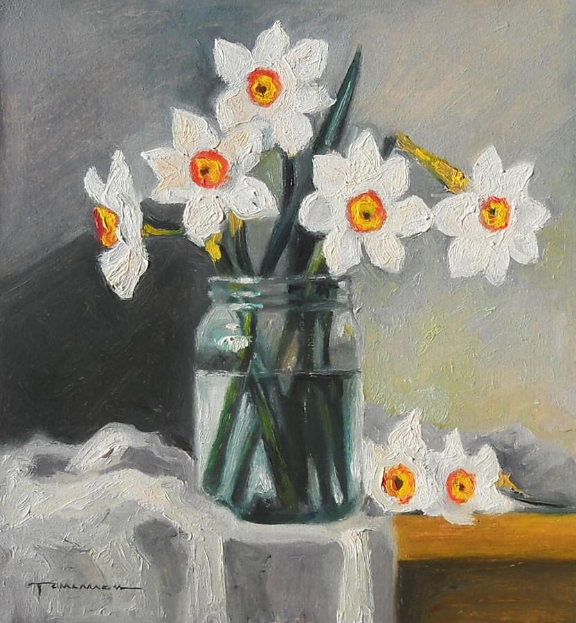 White Daffodils In A Jar Painting by Tancau Emanuel