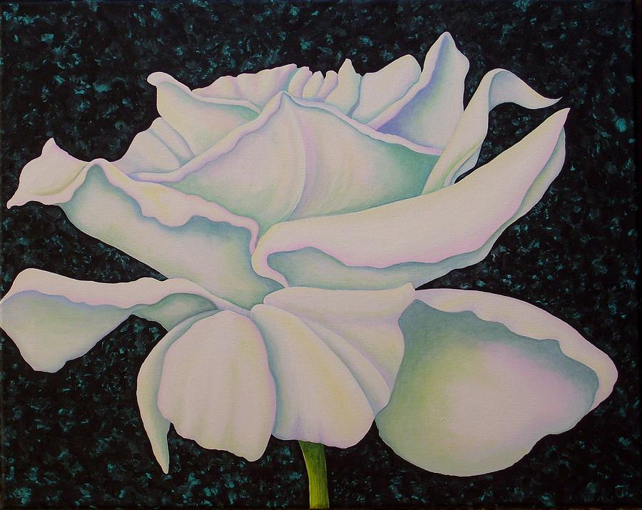 Acrylic Painting - White Rose by Carol Sabo
