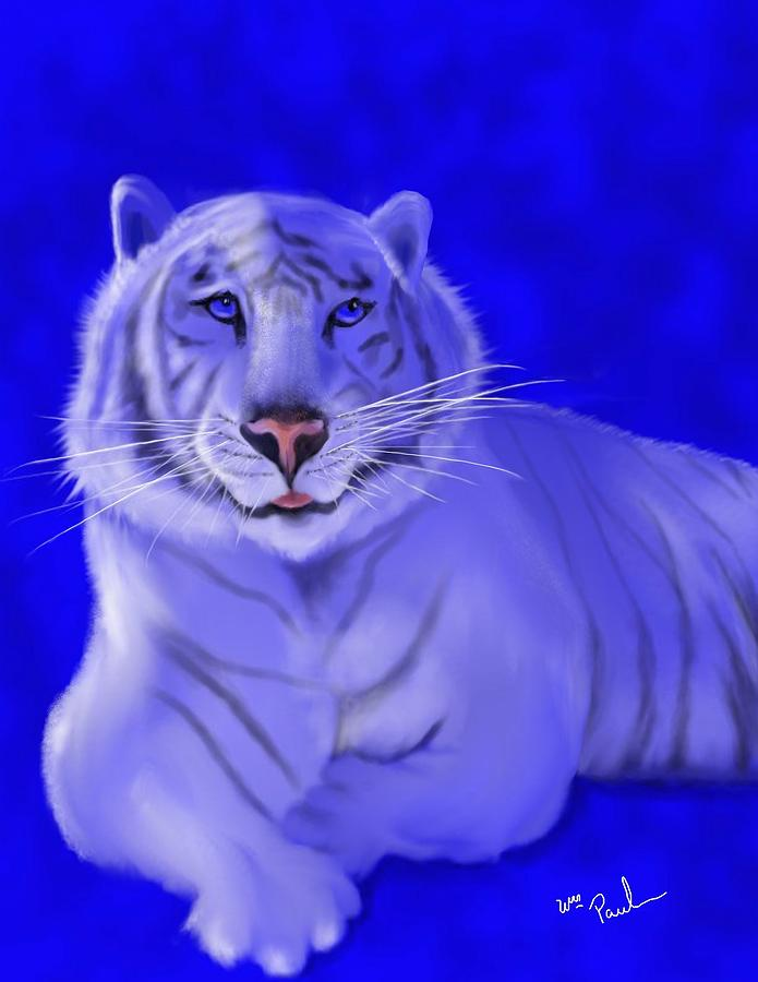 Tiger Mixed Media - White by William  Paul Marlette