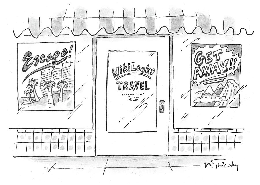 Cartoon Drawing - Wikileaks Travel by Mike Twohy