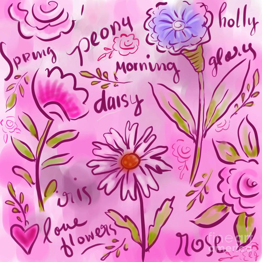 Pink Digital Art - Wild Flowers 2 by Elaine Jackson