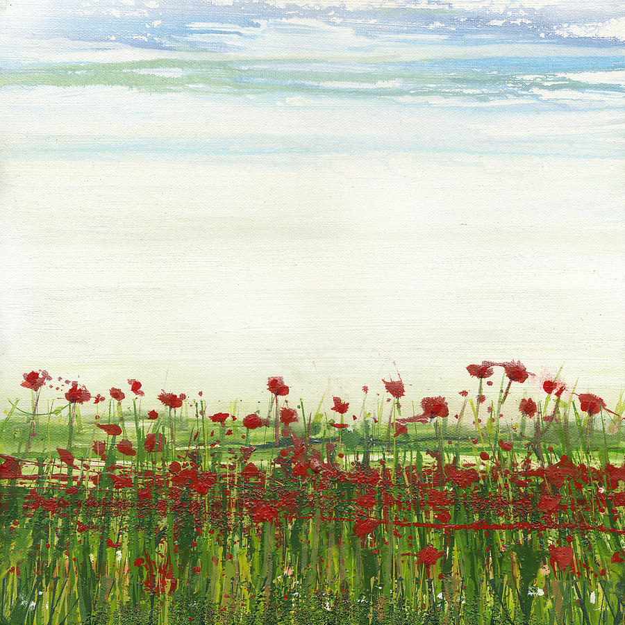 Landscape Mixed Media - Wild Poppies Corbridge by Mike   Bell