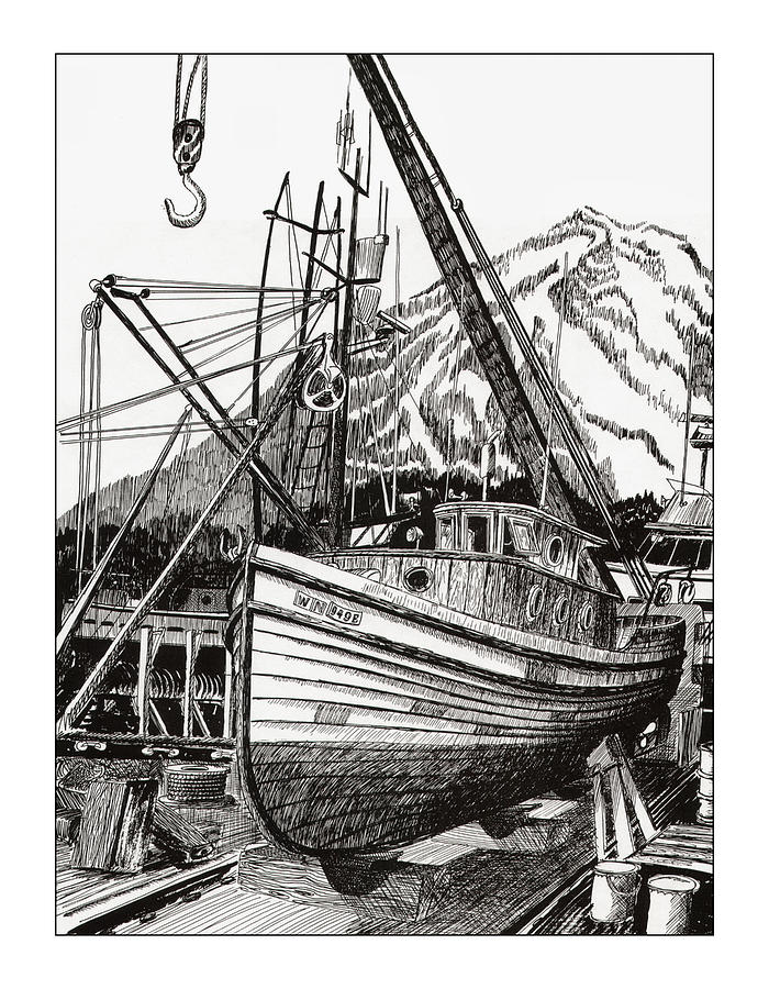 Commercial Fishing Boat Art Drawing - Will Fish Again Another Day by Jack Pumphrey