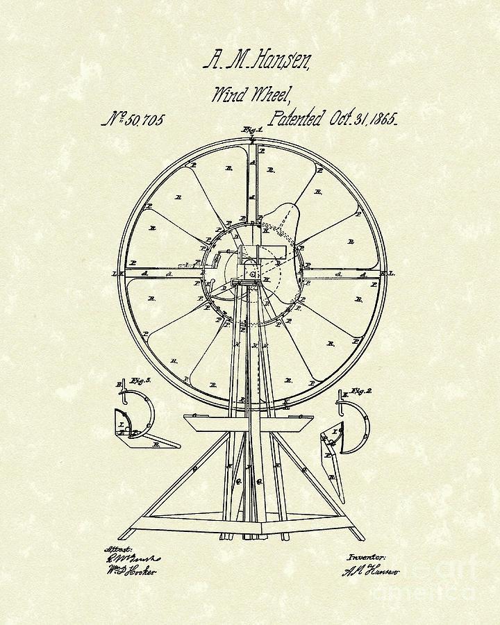 Hansen Drawing - Wind Wheel 1865 Patent Art by Prior Art Design