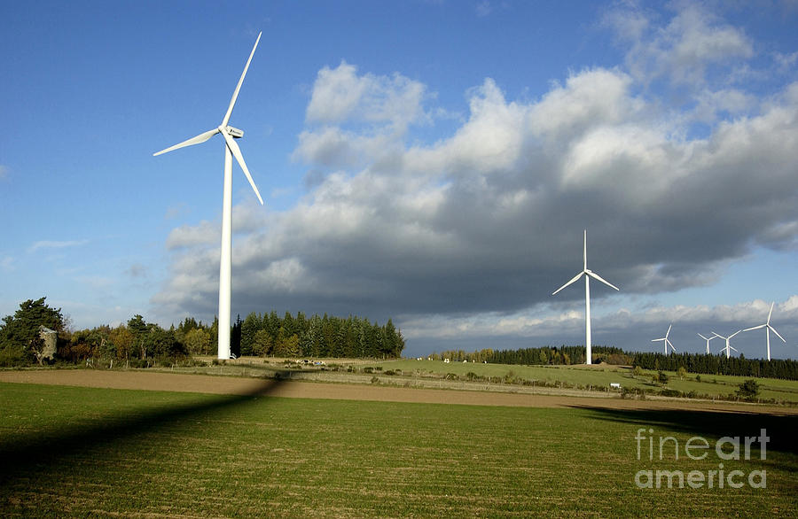 Auvergne Photograph - Windturbines by Bernard Jaubert