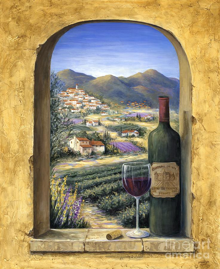 Wine Painting - Wine and Lavender by Marilyn Dunlap