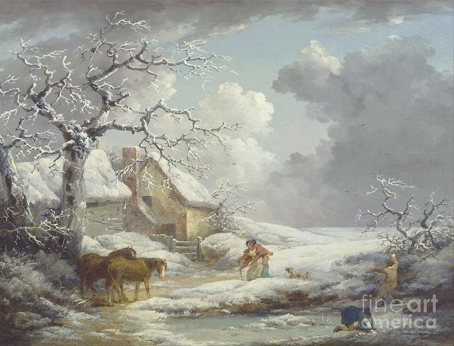 Pd Painting - Winter Landscape by Pg Reproductions