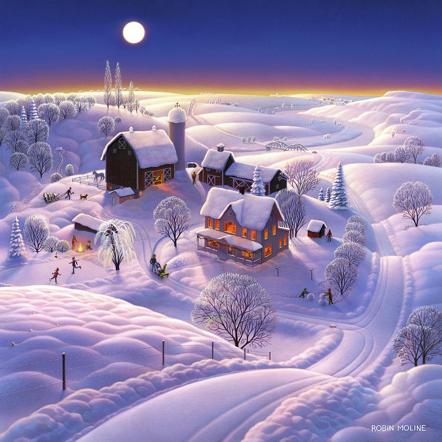 Winter Painting - Winter On The Farm by Robin Moline