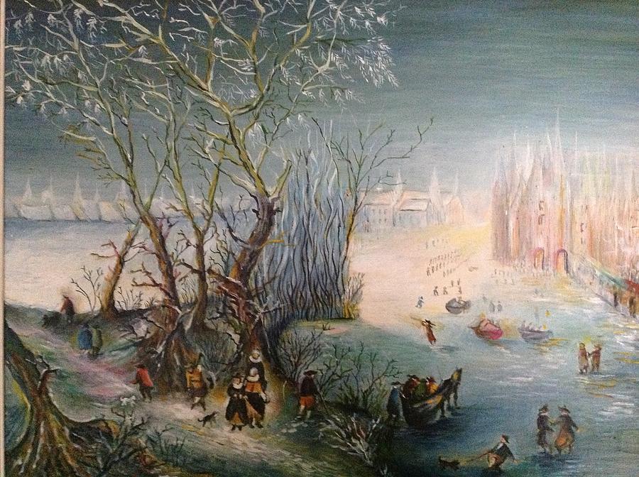 Frozen River Painting - Winter Scene by Egidio Graziani