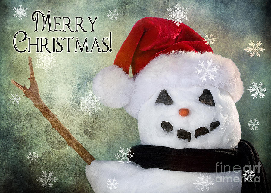 Snowman Photograph - Winter Snowman by Cindy Singleton