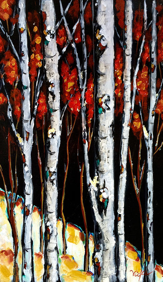 Trees Painting - Winter Walk by Vickie Warner