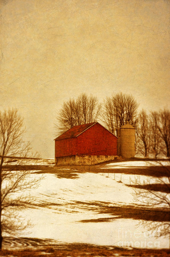 Red Photograph - Wisconsin Barn In Winter by Jill Battaglia