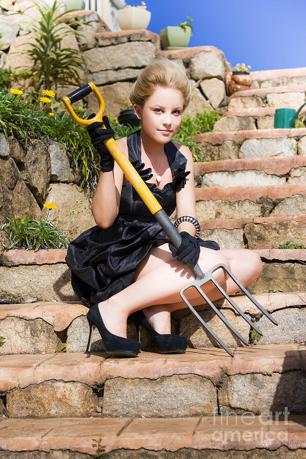 Adult Photograph - Woman Holding Pitchfork by Jorgo Photography - Wall Art Gallery