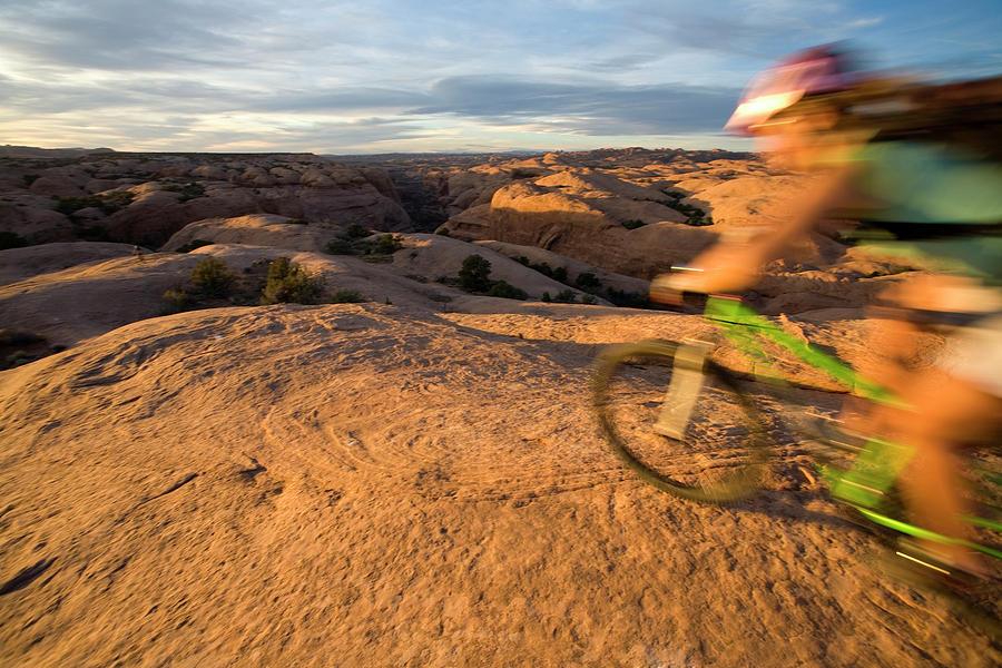 Active Photograph - Woman Mountain Biking, Moab, Utah by Whit Richardson
