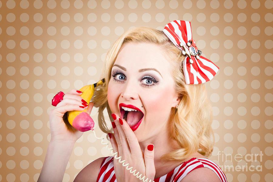 Phone Photograph - Woman On Banana Telephone. Health Eating News by Jorgo Photography - Wall Art Gallery