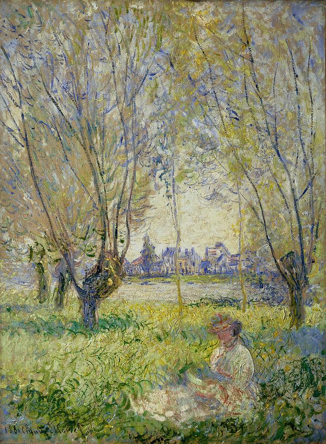 1880 Painting - Woman Seated Under The Willows by Claude Monet