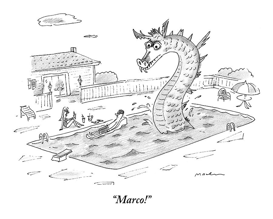 Woman Speaks To Man In A Pool With The Lochness Drawing by Michael Maslin