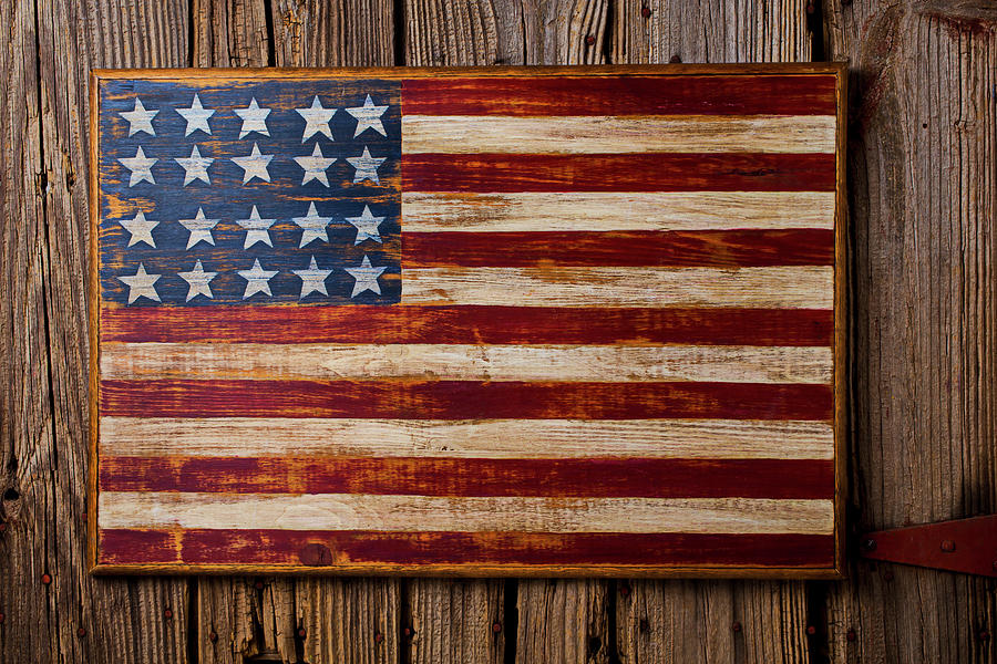 Wooden American Flag On Wood Wall Photograph by Garry Gay