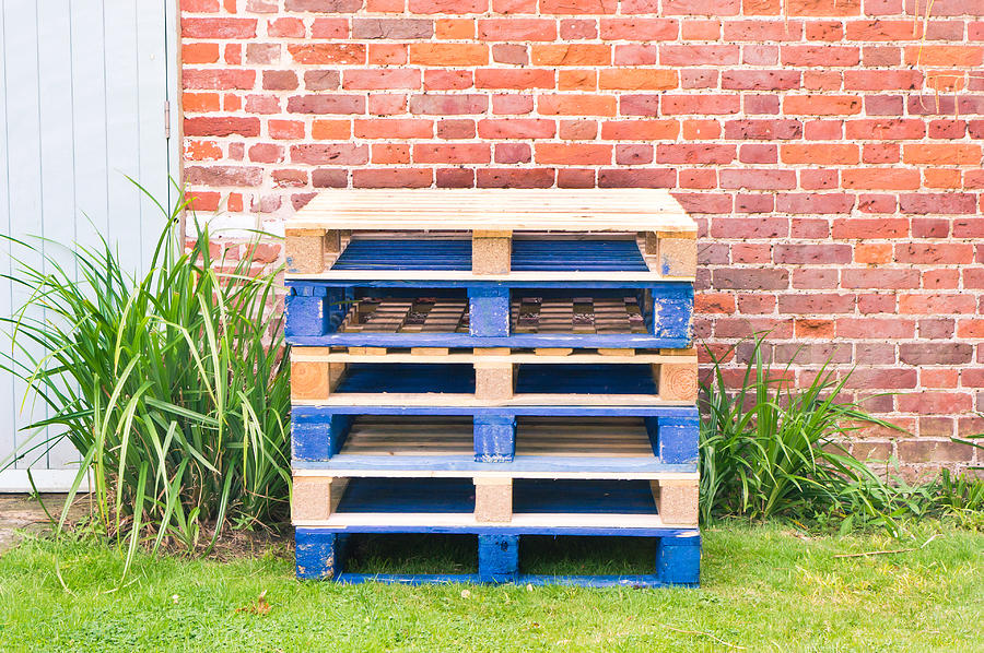 Blue Photograph - Wooden Pallets by Tom Gowanlock