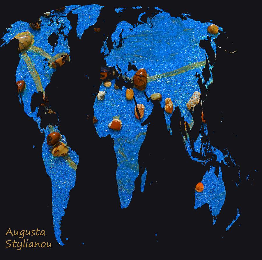Constellation Map Digital Art - World Map And Capricorn Constellation by Augusta Stylianou