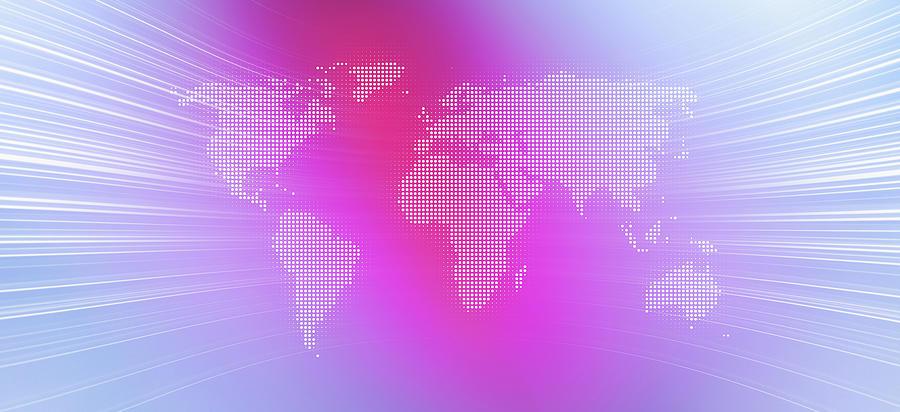 World Map In Dots Against An Abstract Digital Art by Ralf Hiemisch