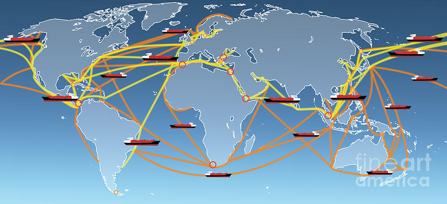 Business Digital Art - World Shipping Routes Map by Atiketta Sangasaeng
