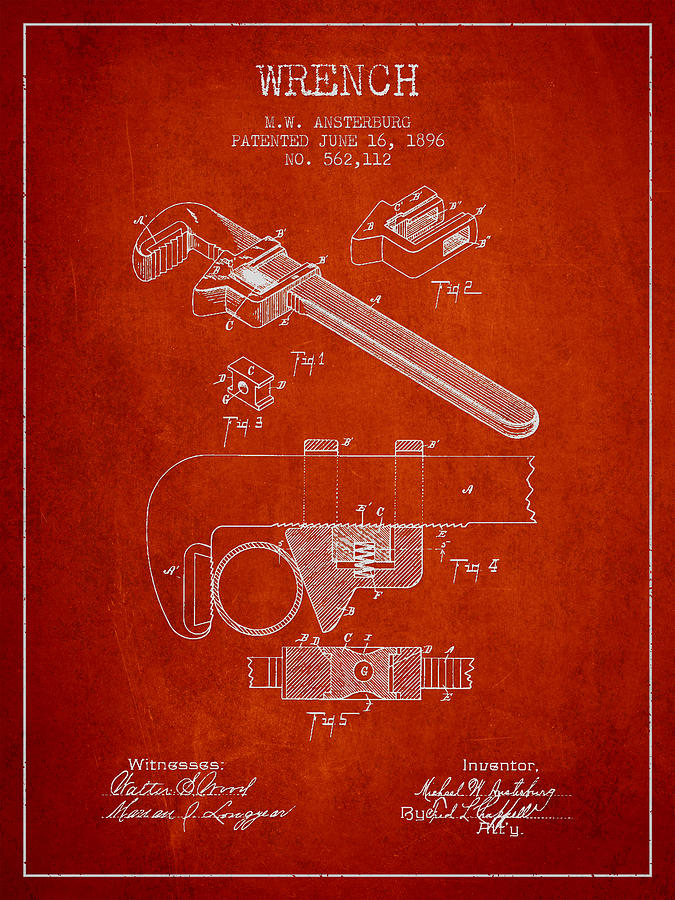 Monkey Wrench Drawing - Wrench Patent Drawing From 1896 by Aged Pixel