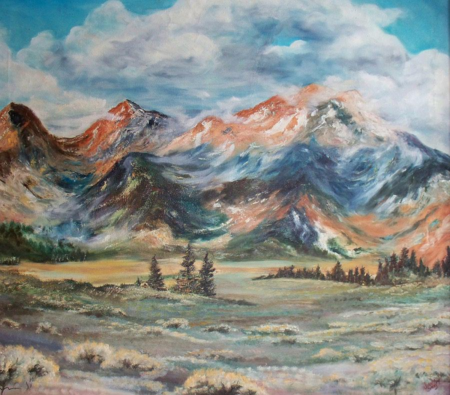 Mountains Painting - Wyoming Sunrise by Jean Ann Curry Hess
